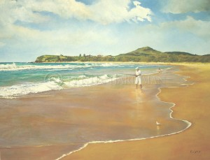 Fishing at Forsters Beach (oil)