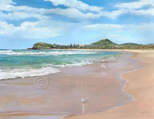 Fishing at Forsters Beach (gouache)
