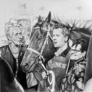 Finalist 2019 Hornsby Art Prize with Winx's pencil portrait